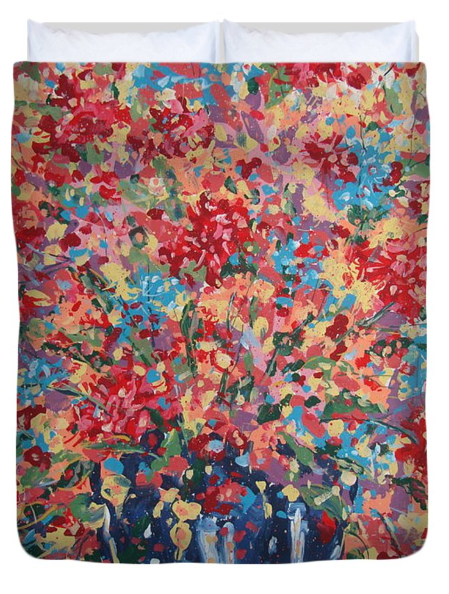 Flowers Duvet Cover featuring the painting Full Flower Bouquet. by Leonard Holland