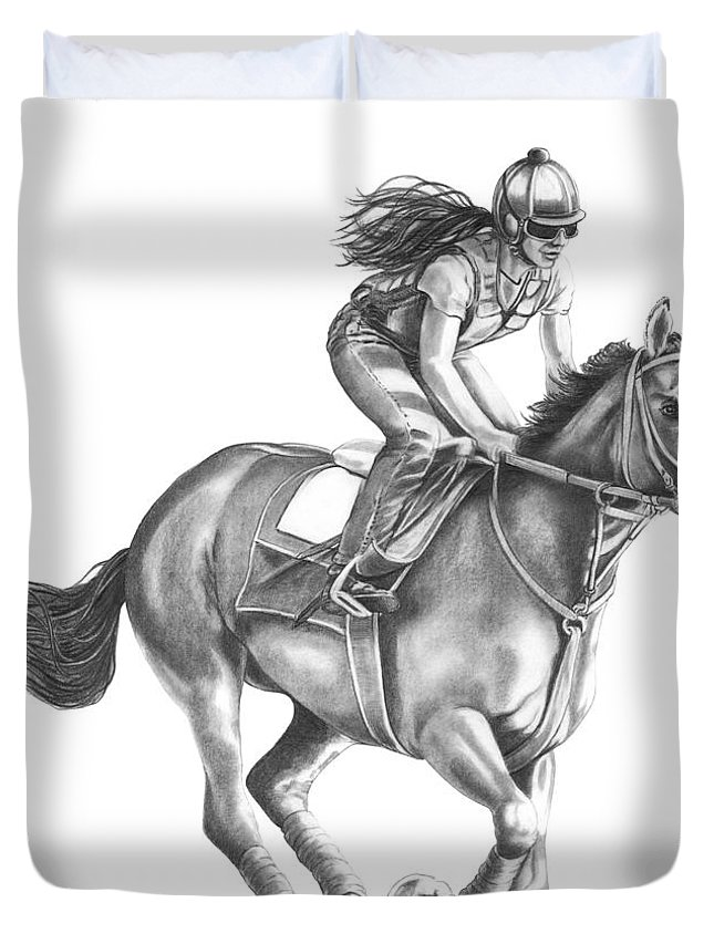 Horse Duvet Cover featuring the drawing Full Gallop by Murphy Elliott