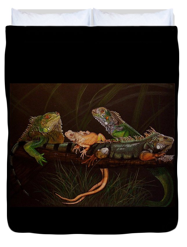 Iguana Duvet Cover featuring the drawing Full House by Barbara Keith