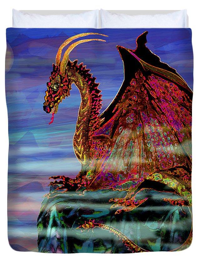 Full Moon Dragon: Full Moon Aries Dragon On Crystal Mountain Duvet Cover For