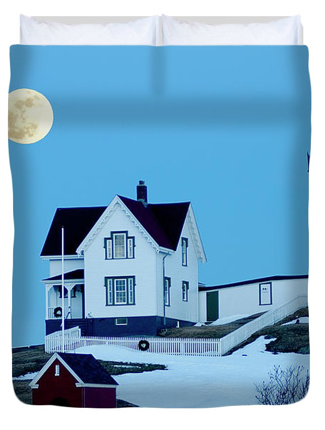 Coast Duvet Cover featuring the photograph Full Moon Nubble by Greg Fortier