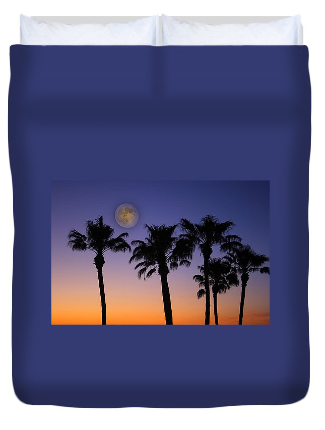Moon Duvet Cover featuring the photograph Full Moon Palm Tree Sunset by James BO Insogna