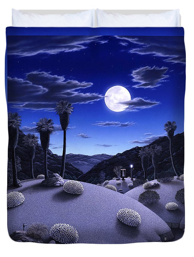 Desert Duvet Cover featuring the painting Full Moon Rising by Snake Jagger