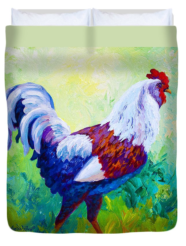 Rooster Duvet Cover featuring the painting Full Of Himself by Marion Rose