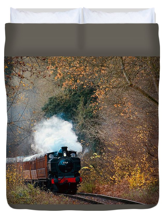 Train Duvet Cover featuring the photograph Full Steam by Phil Child