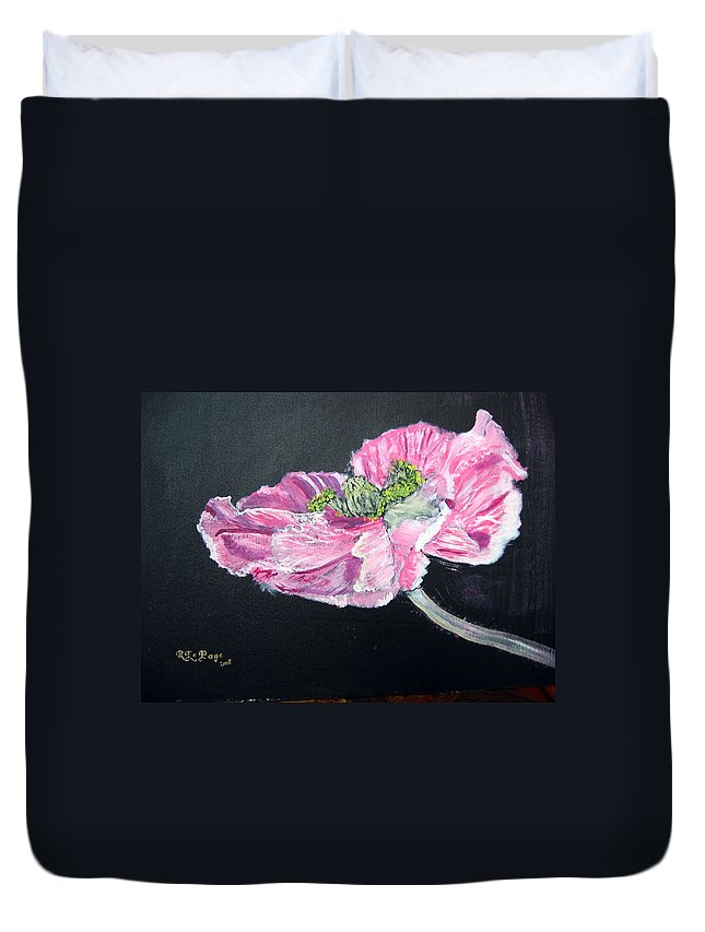 Poppy Duvet Cover featuring the painting Fully Open Poppy by Richard Le Page