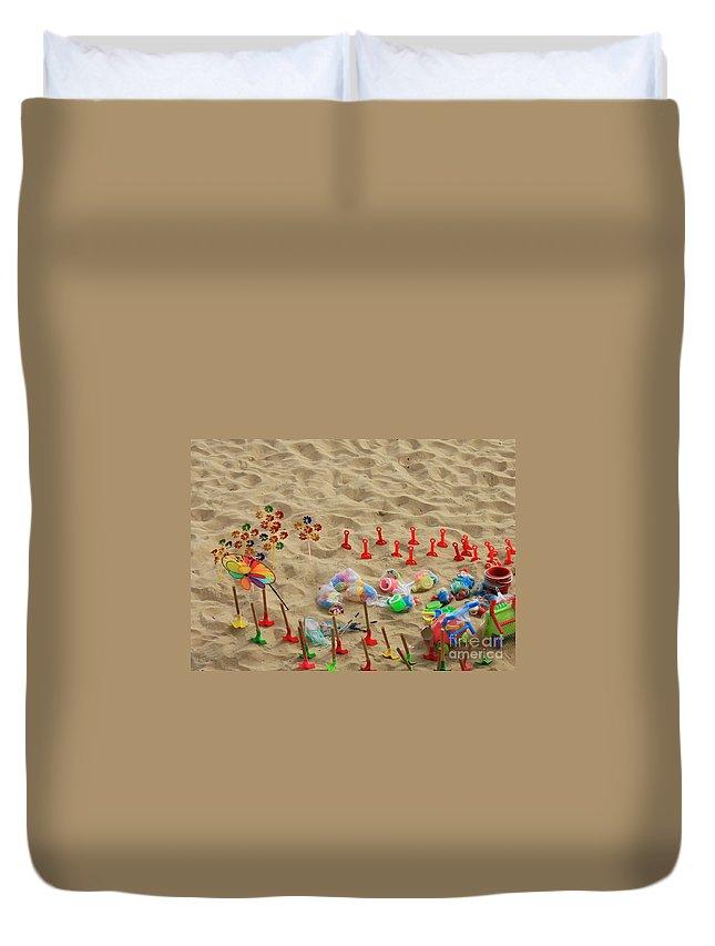 Beach Fun Duvet Cover featuring the photograph Fun At The Beach by Carol Groenen