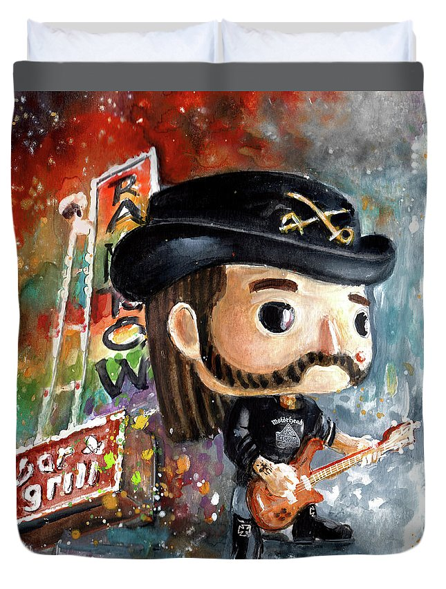 Funko Duvet Cover featuring the painting Funko Lemmy Kilminster Out To Lunch by Miki De Goodaboom