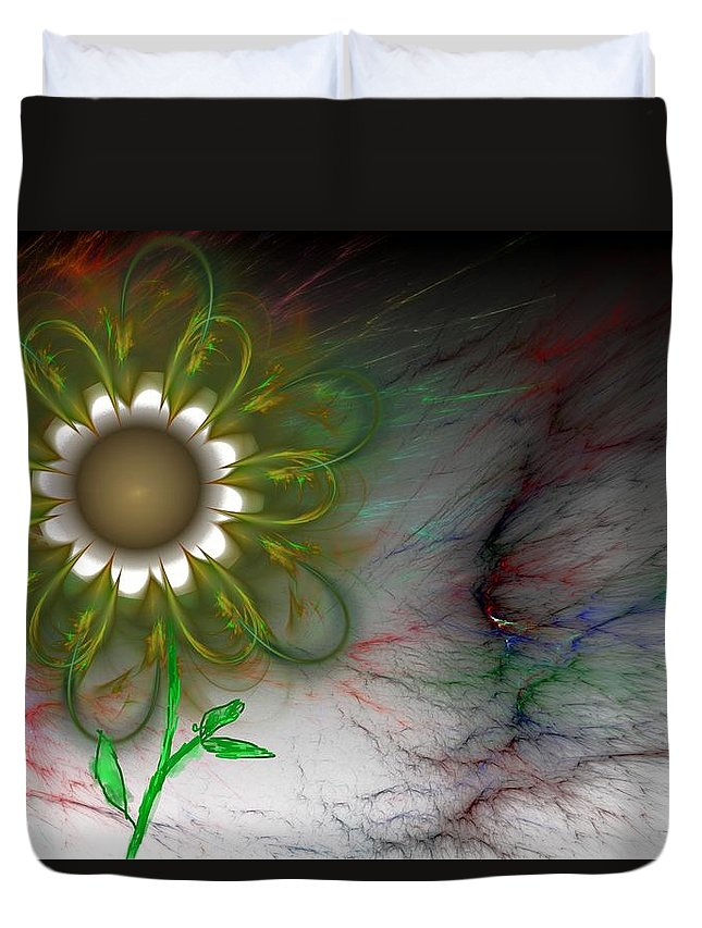 Digital Photography Duvet Cover featuring the digital art Funky Floral by David Lane