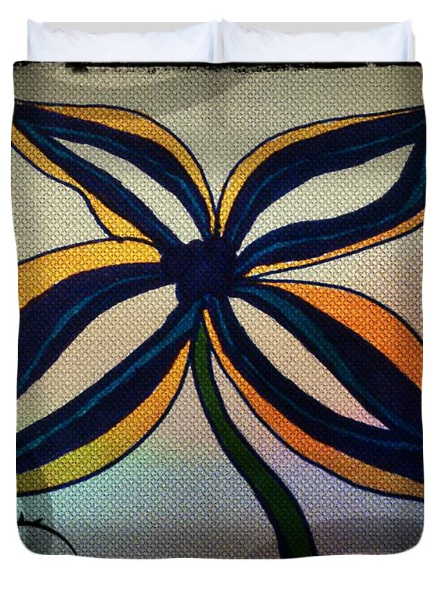 Doodle Duvet Cover featuring the drawing Funky Flower by Rachel Maynard