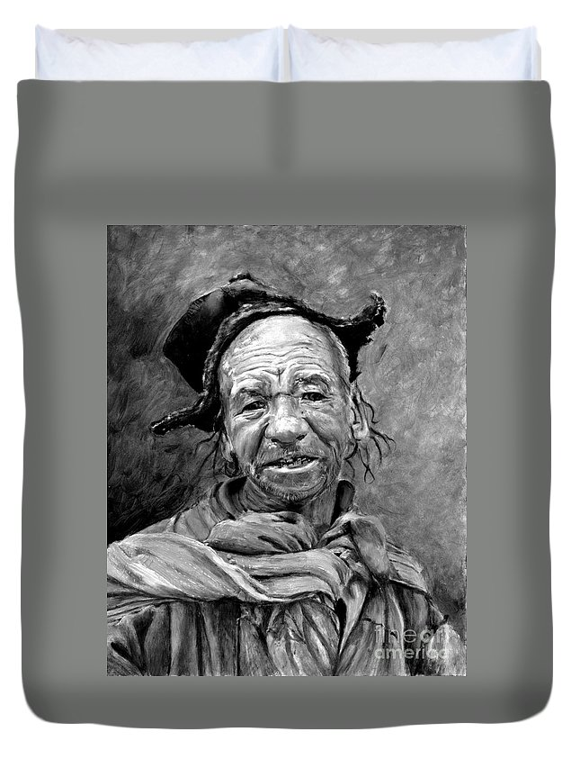 Man Duvet Cover featuring the painting Funky Hat by Enzie Shahmiri