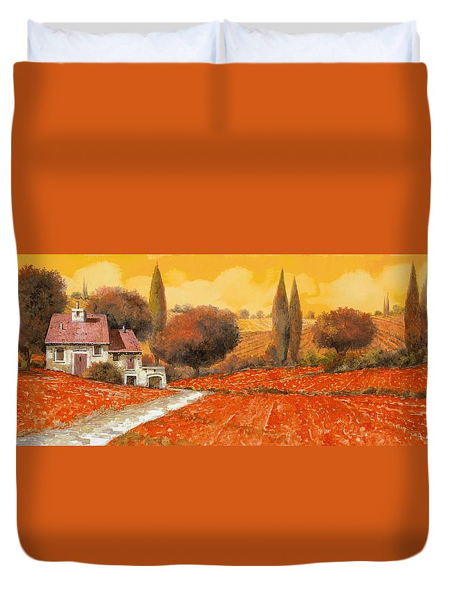 Tuscany Duvet Cover featuring the painting il fuoco della Toscana by Guido Borelli