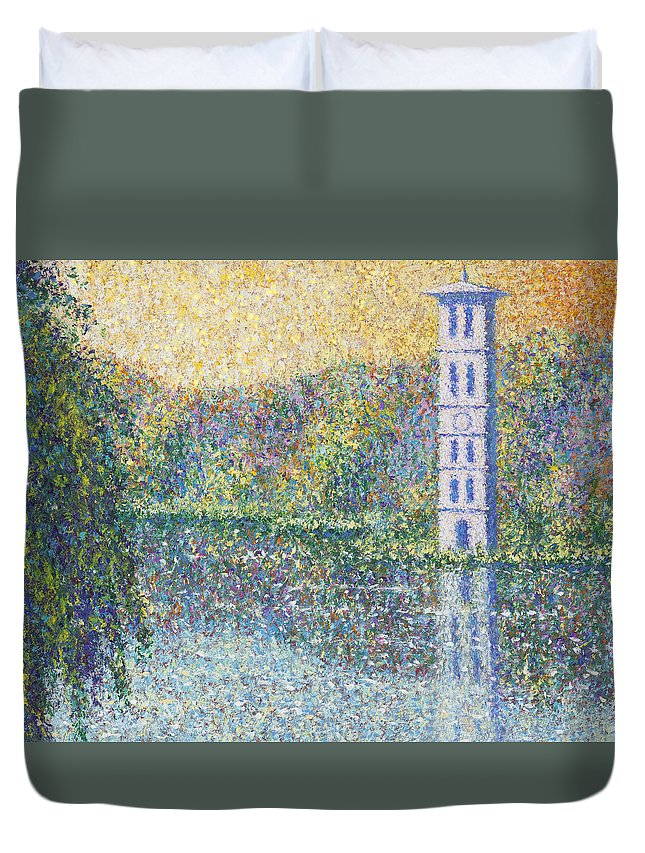 Furman Bell Tower Duvet Cover featuring the painting Furman Tower by Joe Mckinney