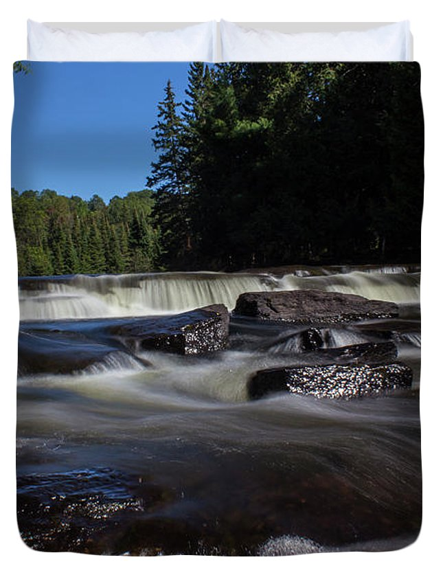 Waterfall Duvet Cover featuring the photograph Furnace Falls - Minden Hills by Spencer Bush