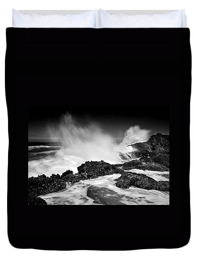 Waves Duvet Cover featuring the photograph Fury by Mike Dawson