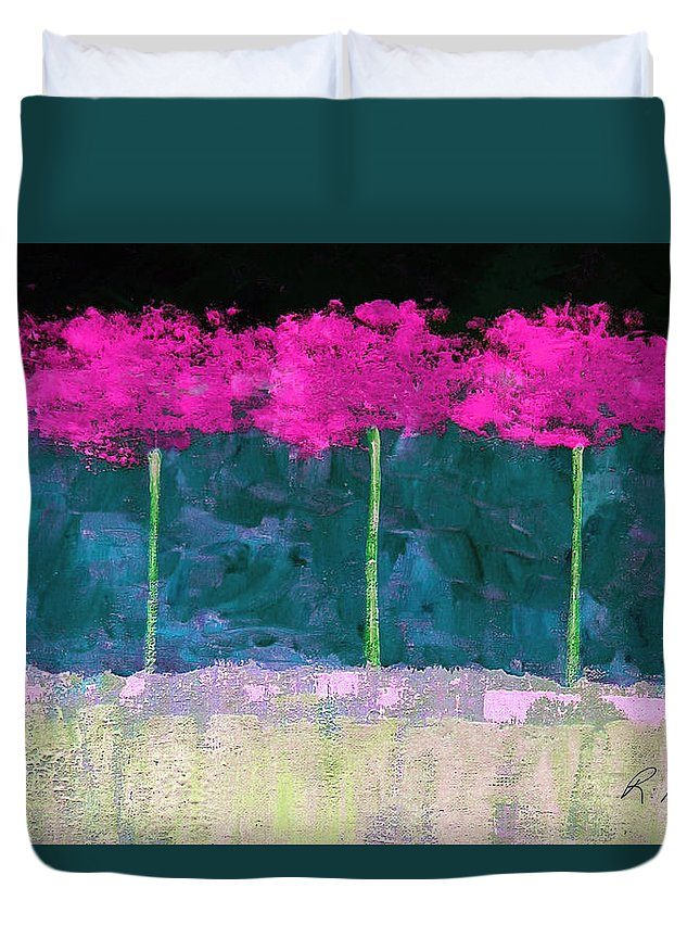Abstract Duvet Cover featuring the painting Fuschia Trees by Ruth Palmer