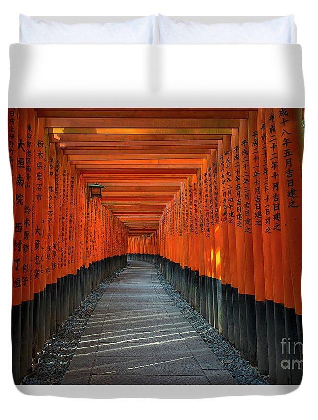 Fushimi Inari Taisha Shrine Duvet Cover featuring the photograph Fushimi Inari Taisha Shrine In Kyoto, Japan by Ivan Batinic