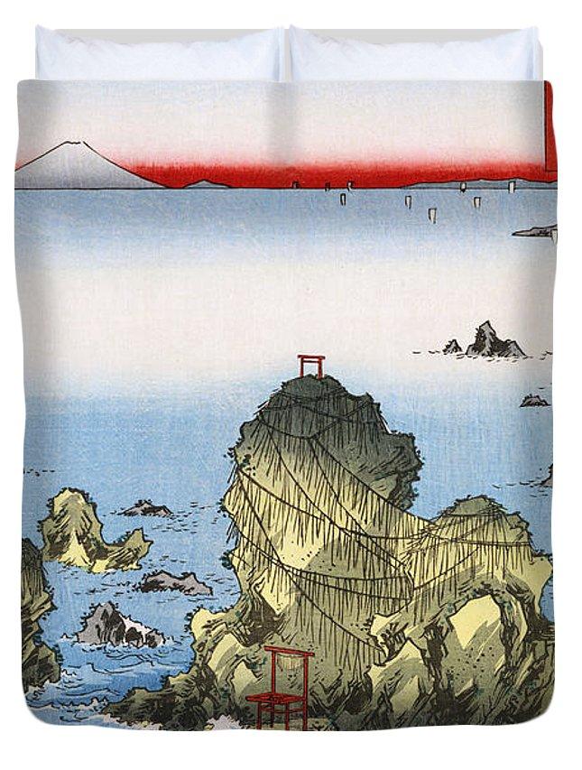 Futamigaura In Ise Province Duvet Cover featuring the painting Futamigaura In Ise Province by Celestial Images