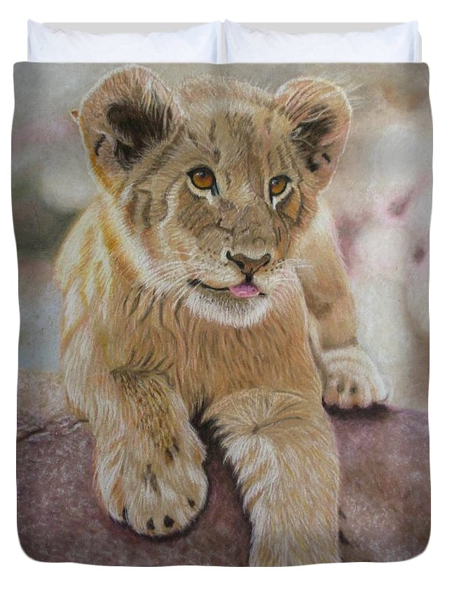 Lion Duvet Cover featuring the drawing Future King by Lori Hanks
