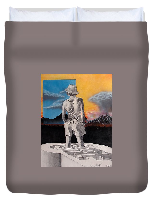 Shaun Duvet Cover featuring the painting Future by Shaun McNicholas