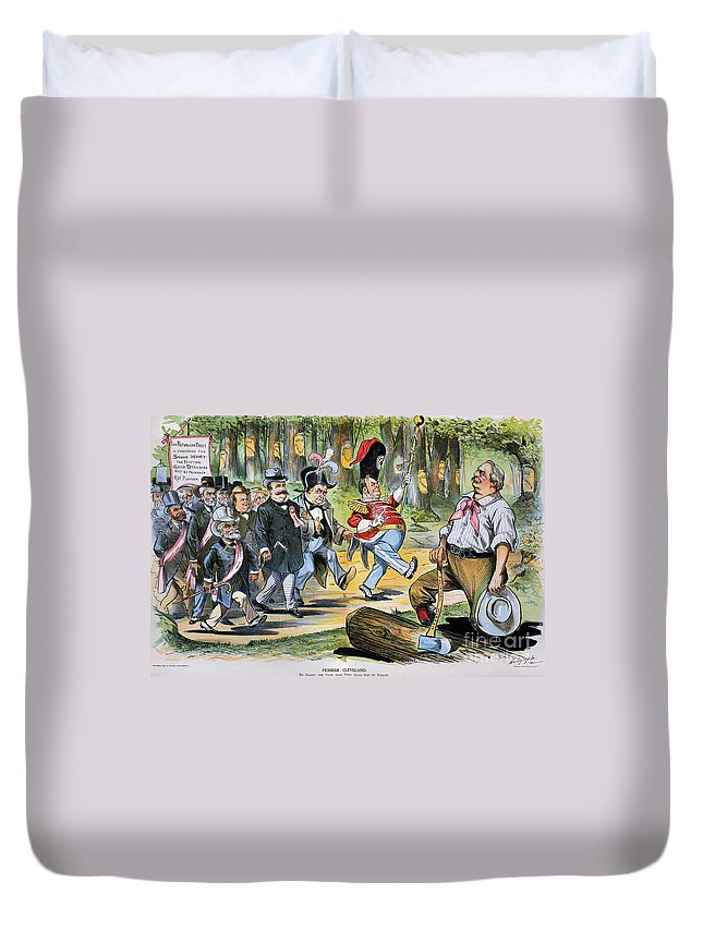 1896 Duvet Cover featuring the photograph G. Cleveland Cartoon, 1896 by Granger