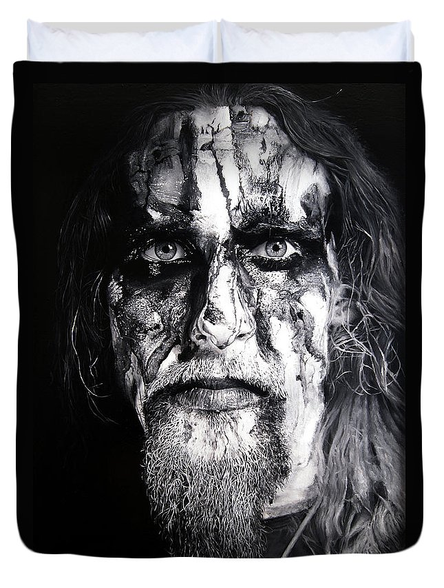 Gaahl Duvet Cover featuring the painting Gaahl by Christian Klute