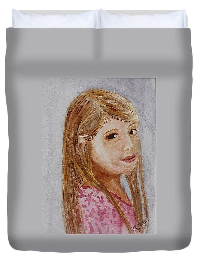 Gabriella Duvet Cover featuring the painting Gabriella by Donna Walsh