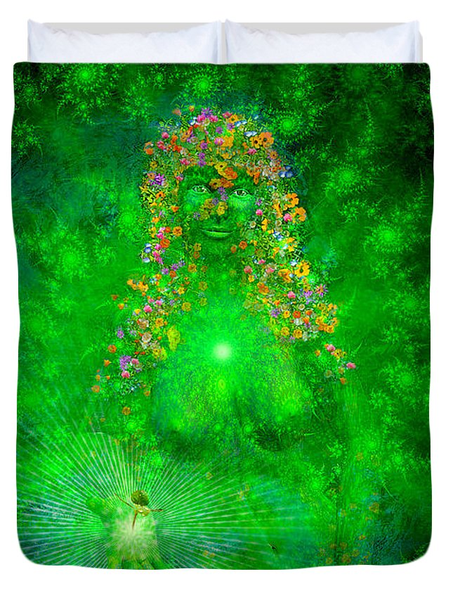 Gaia Duvet Cover featuring the painting Gaia by Robby Donaghey