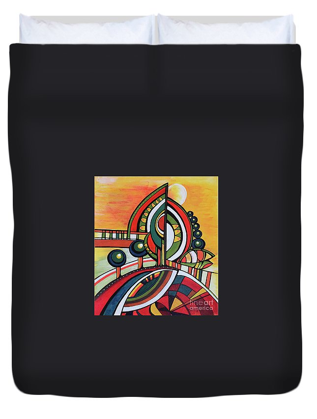 Original Painting Duvet Cover featuring the painting Gaia's Dream by Aniko Hencz