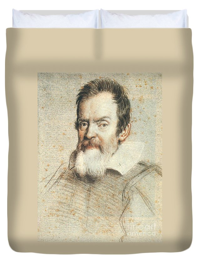 1624 Duvet Cover featuring the photograph Galileo Galilei by Granger