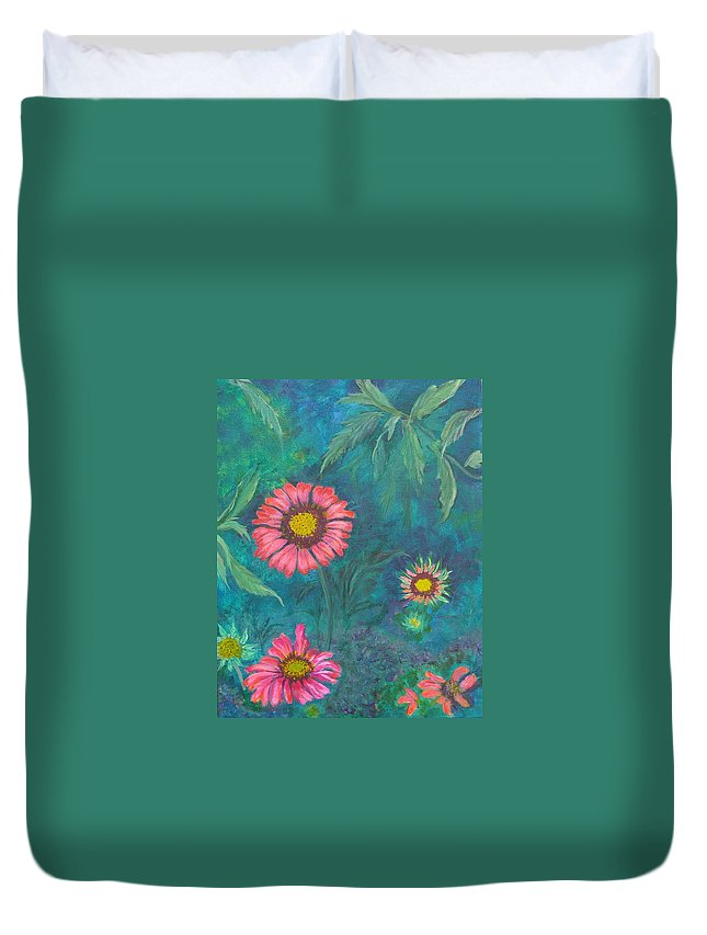 Garden Duvet Cover featuring the painting Gallardia by Peggy King