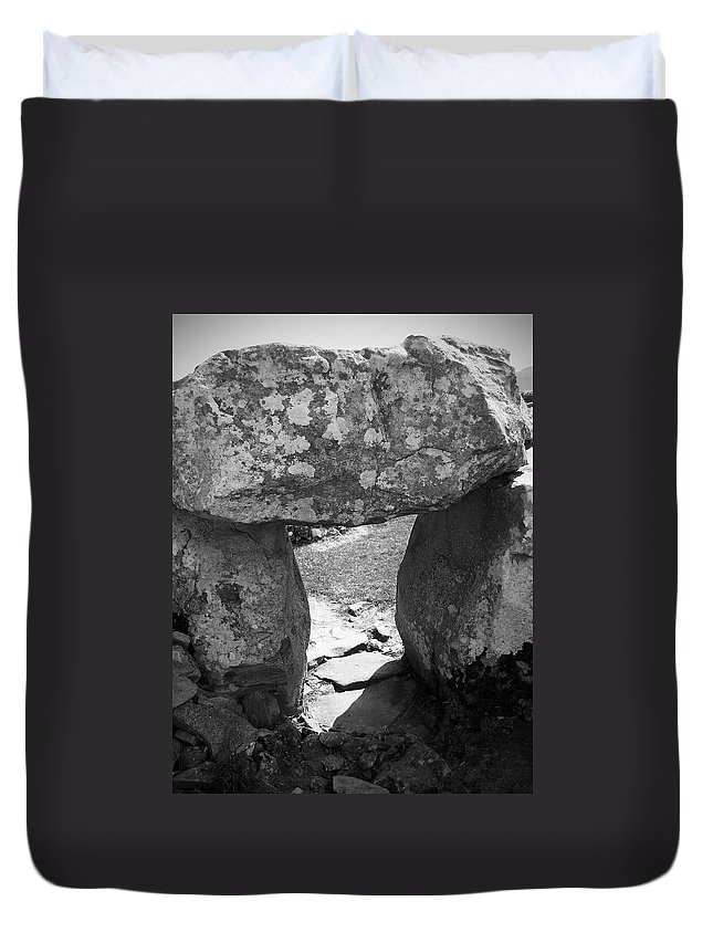 Ireland Duvet Cover featuring the photograph Gallery Entrance At Creevykeel Court Cairn Ireland by Teresa Mucha