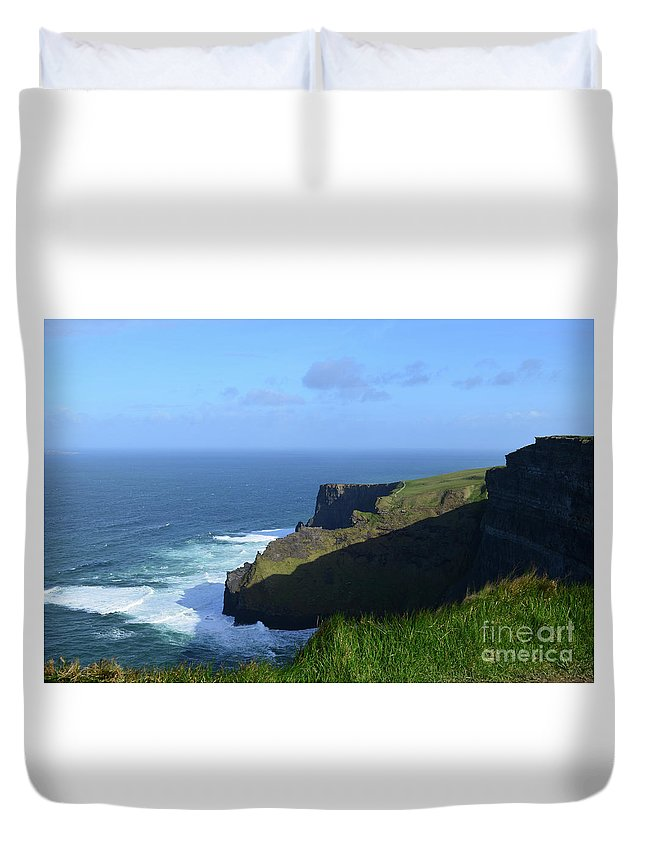 Cliffs-of-moher Duvet Cover featuring the photograph Galway Bay Churning Below The Cliffs Of Moher by DejaVu Designs