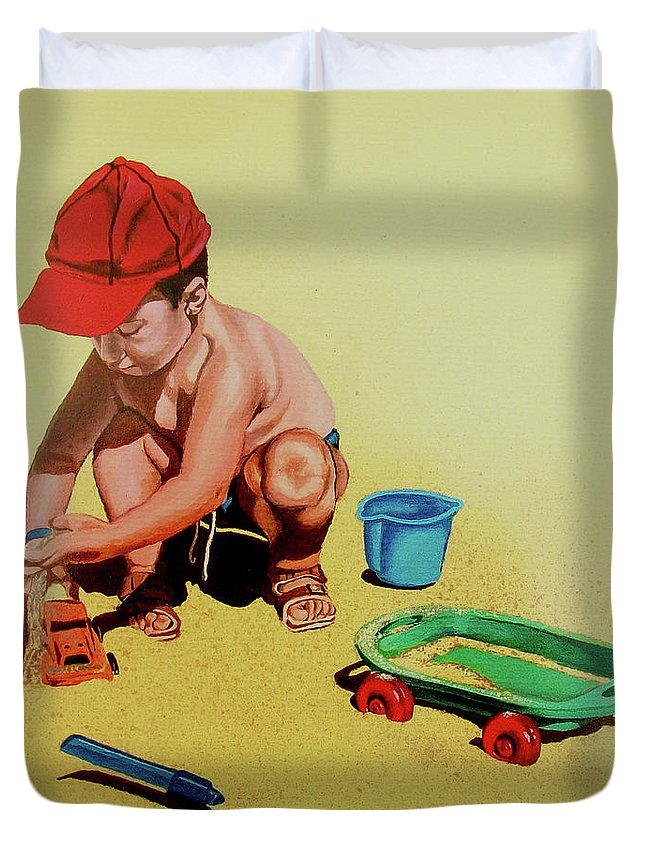Beach Duvet Cover featuring the painting Game At The Beach - Juego En La Playa by Rezzan Erguvan-Onal