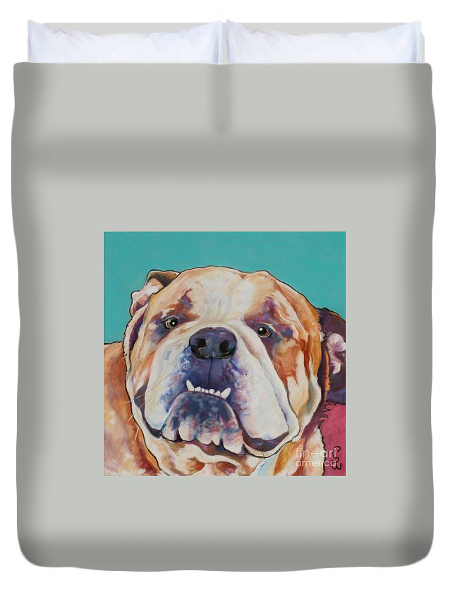 Pat Saunders-white Pet Portraits Duvet Cover featuring the painting Game Face  by Pat Saunders-White