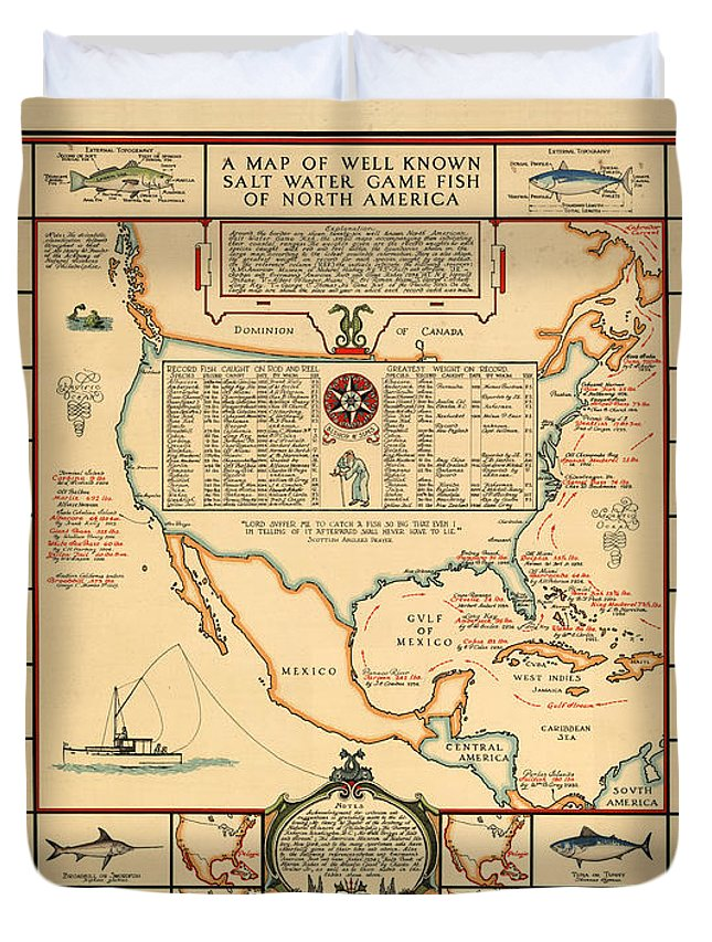 Angling Chart Of North America Duvet Cover featuring the drawing Game Fishing Chart of North America - Game Fish Varieties - Illustrated Map for Anglers by Studio Grafiikka