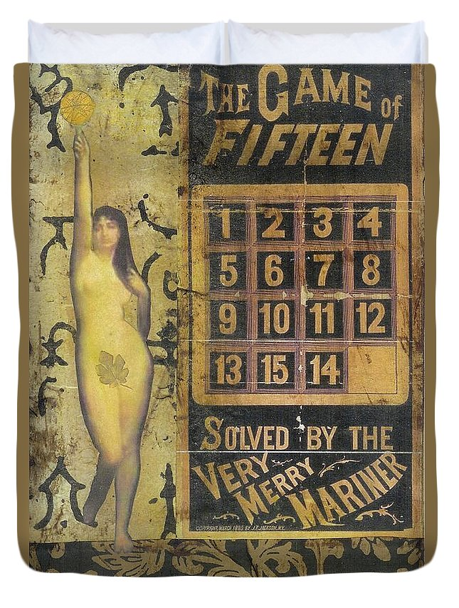 Vintage Duvet Cover featuring the mixed media Game Of Fifteen by Desiree Paquette