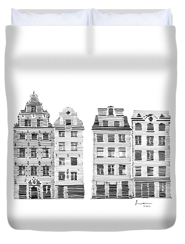 Houses Duvet Cover featuring the drawing Gamla Stan Stockholm City Scene by Hieu Tran