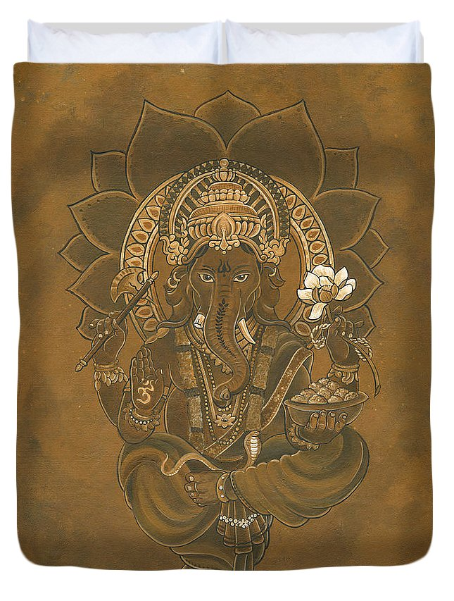 Ganesa Duvet Cover featuring the painting Ganesa by Ned Burwell