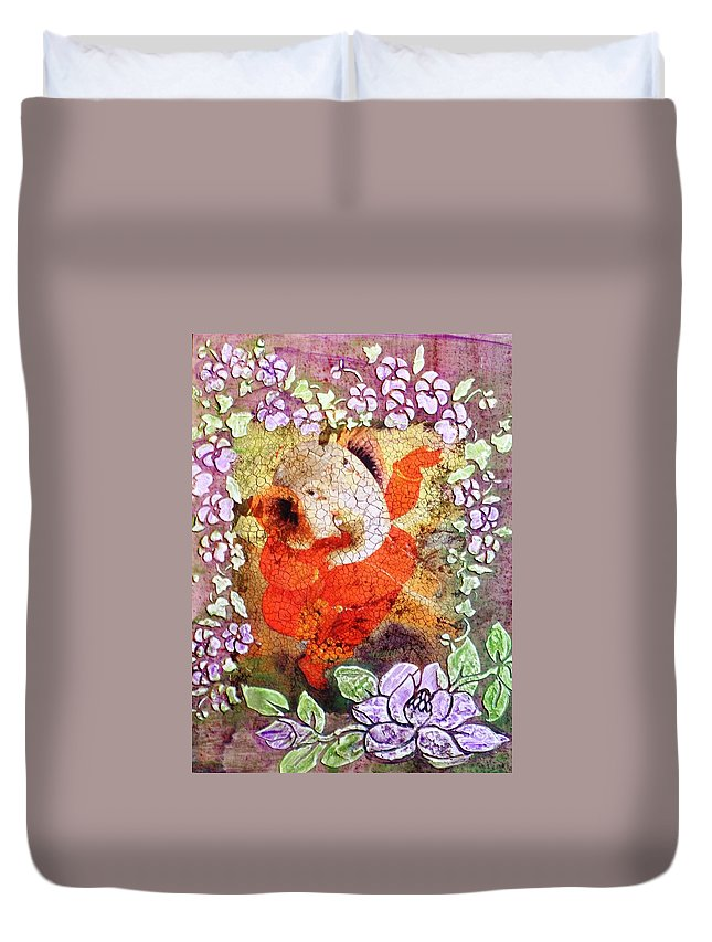 Dancing Pose Of Ganesha Duvet Cover featuring the painting Ganesh In Dancing Pose With Floral Backdrop. by Asha Aditi Ruparelia