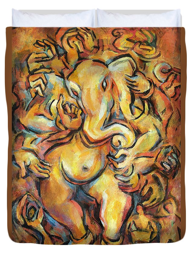 Ganesha Duvet Cover featuring the painting Ganesha by Abbie Rabinowitz