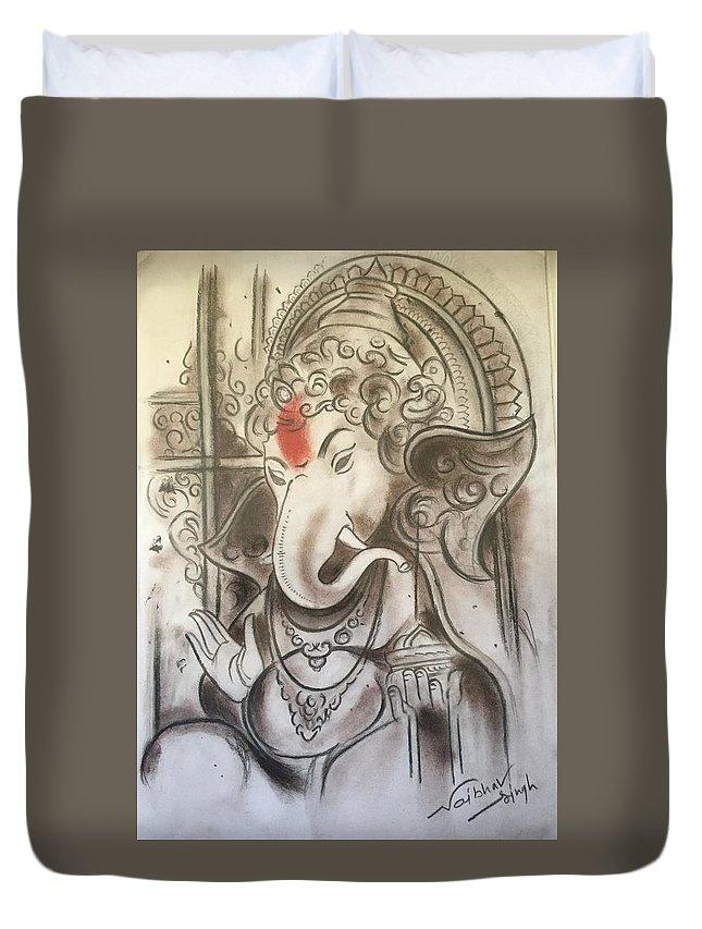 Duvet Cover featuring the pastel Ganesha by Vaibhav singh Sengar