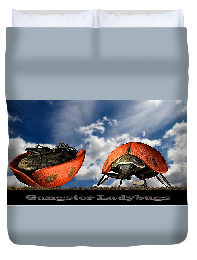 Ladybug Duvet Cover featuring the digital art Gangster Ladybugs Nature Gone Mad by Bob Orsillo