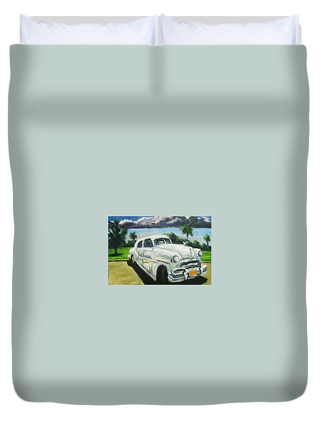 Old Cars Duvet Cover featuring the painting Gangsters On Vacation by John Malone