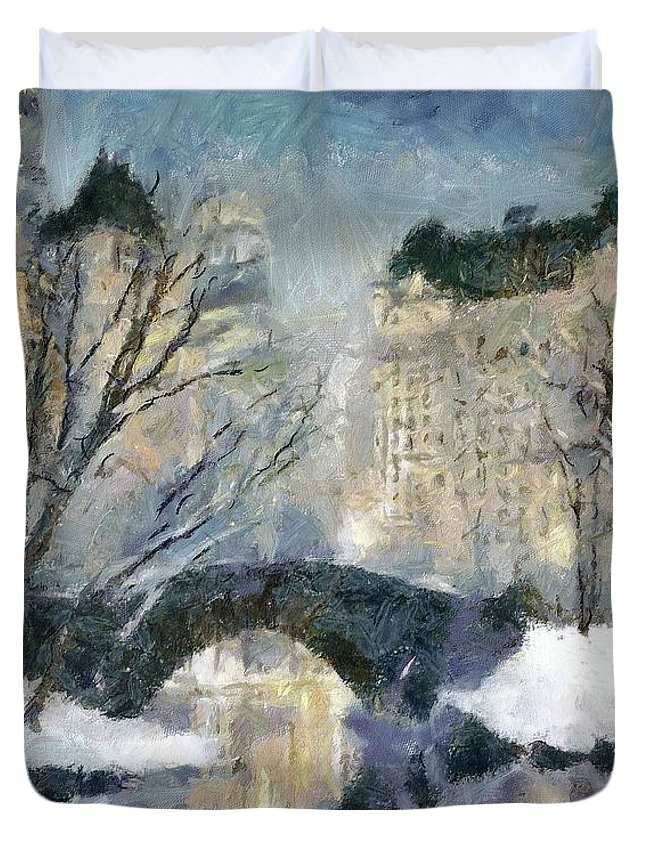 Cityscape Duvet Cover featuring the painting Gapstow Bridge In Snow by Dragica Micki Fortuna