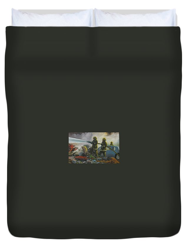 Firefighters Duvet Cover featuring the painting Garage Fire by John Malone