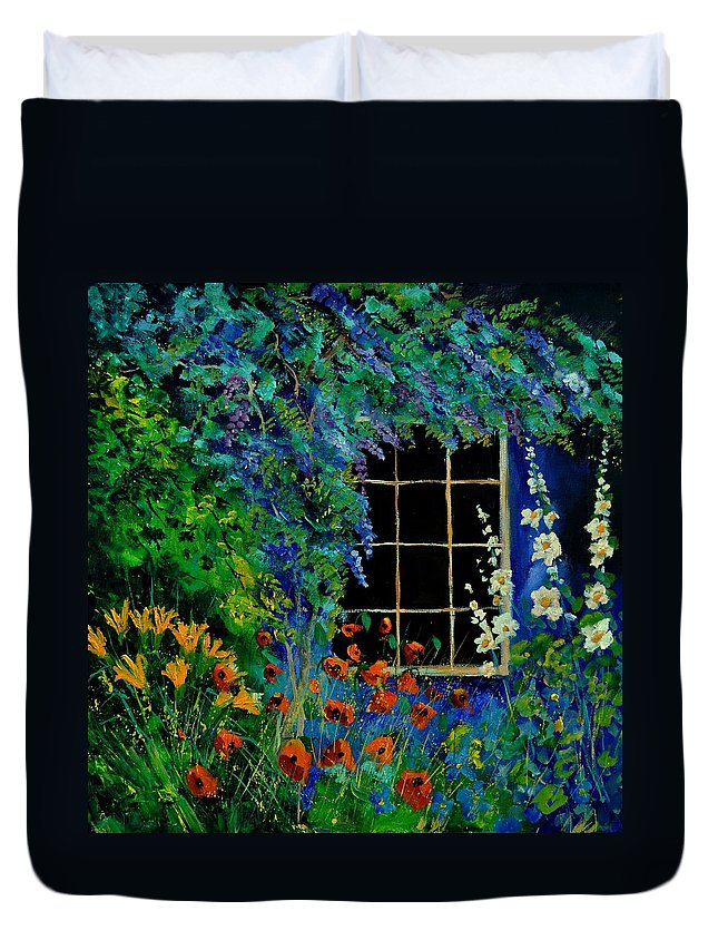 Flowers Duvet Cover featuring the painting Garden 88 by Pol Ledent