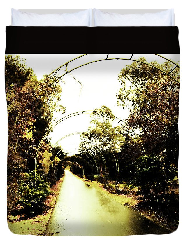 Arches Duvet Cover featuring the photograph Garden Arches Of Gold by Douglas Barnard