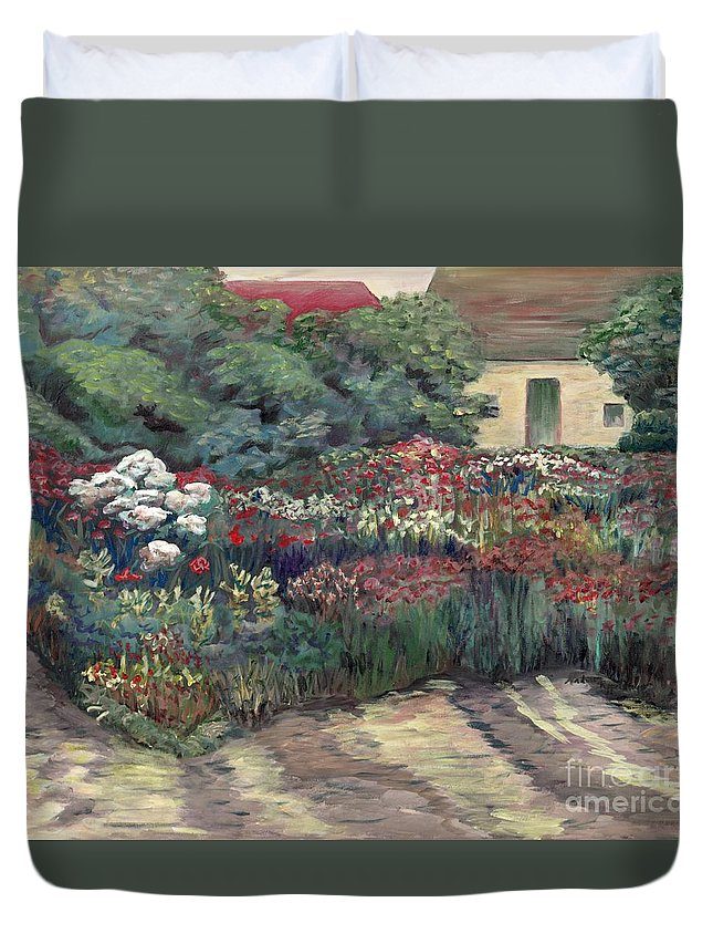 Breck Duvet Cover featuring the painting Garden At Giverny by Nadine Rippelmeyer