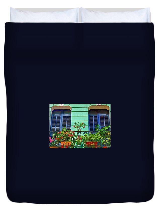 Garden Duvet Cover featuring the photograph Garden Balcony by Debbi Granruth